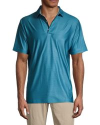 Hickey Freeman Club Striped Polo - Blue
