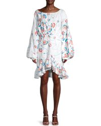All Things Mochi Floral Flounce Dress - White