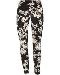 Memoi Women's Velvet Floral Leggings - Black - Size M/l