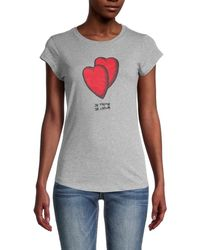 Zadig & Voltaire Women's Skinny Hearts Graphic T-shirt - Gray - Size L