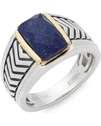Effy - Lapis, Sterling Silver And 14k Yellow Gold Chevron Midi Ring - Lyst