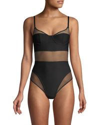 DKNY Women's Soft Tech Mesh Bodysuit - Black Plum - Size 34 D