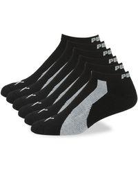 PUMA 6-pack Colorblock Logo Ankle Socks - Black