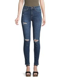 Flying Monkey High-rise Distressed Skinny Jeans - Blue