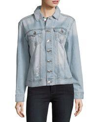 True Religion - Distressed Cotton Denim Jacket - Lyst