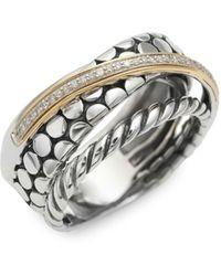 Effy 14k Yellow Gold, Sterling Silver And Diamond Ring - Metallic
