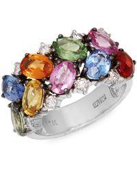 Effy 14k White Gold, Multicolored Sapphire & Diamond Ring - Multicolour