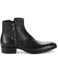 Jo Ghost Men's Embossed Snake-print Leather Boots - Navy - Size 7.5 - Blue