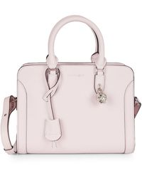 Alexander McQueen Small Pebbled Leather Satchel - Pink