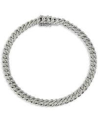 Nephora 14k White Gold & Pavé Diamond Cuban Link Bracelet - Metallic