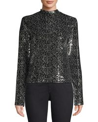 RTA Freddie Long-sleeve Shoulder-pad Sequin Leopard Top - Multicolour