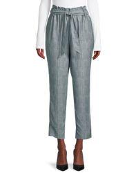 BCBGeneration Plaid Tie-waist Pants - Gray