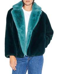 Apparis Kendall Faux Fur Short Coat - Green