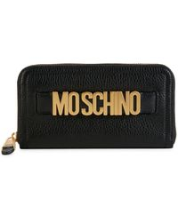 Moschino Pebbled Leather Zip-around Wallet - Black