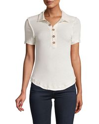 Free People Ruffle-trimmed Cotton-blend Polo - White