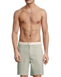 Solid & Striped Men's The Boardshort Seersucker Striped Swim Shorts - Green Seer - Size Xl