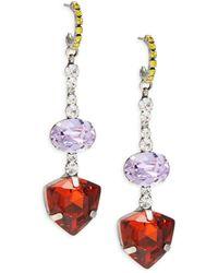DANNIJO Women's Silverplated & Glass Crystal Dangle Earrings - Red