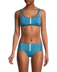 Chaser Front-zip Bikini Top - Blue
