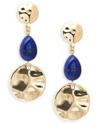 Ava & Aiden - Hammered Goldtone Lapis Triple Drop Earrings - Lyst