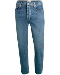 RE/DONE High-rise Stovepipe Raw-hem Jeans - Blue