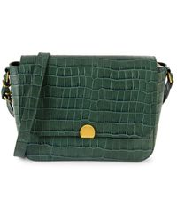 Madewell Abroad Croc-embossed Leather Shoulder Bag - Green