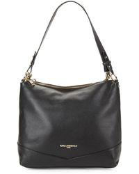 Karl Lagerfeld Pebbled Leather Hobo Bag - Black