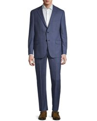 Hickey Freeman Men's Milburn Iim Check Wool Suit - Blue - Size 46 R