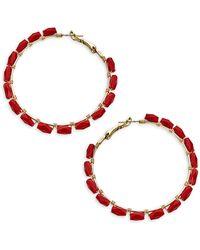 Panacea Beaded Hoop Earrings - Multicolor
