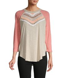 Free People Spring Bound 3/4 Sleeve Shirt - Multicolour