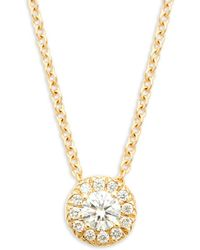 Nephora - Solitaire Diamond And 14k Rose Gold Pendant Necklace - Lyst