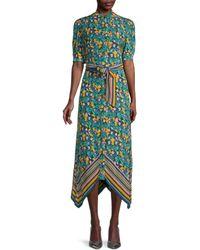 Diane von Furstenberg Kendyl Printed Puff-sleeve Midi Dress - Green