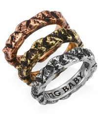 King Baby Studio Women's Sterling Silver Temple Ruin Multicolored Stacking Rings - Size 10 - Metallic