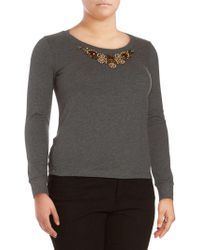 Basler - Marled Beaded Top - Lyst