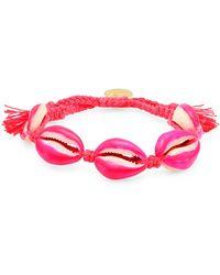 Venessa Arizaga Neon Pink Shell Pull-tie Bracelet - Multicolour