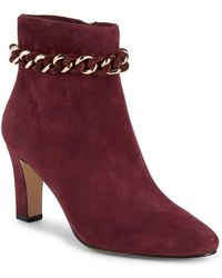 Karl Lagerfeld Maggie Leather Booties - Red