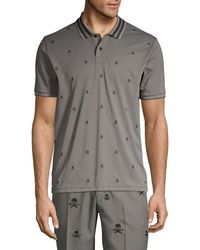 G/FORE Skull & T's Embroidered Slim-fit Polo - Blue