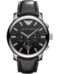 Emporio Armani Stainless Steel & Leather-strap Chronograph Watch - Multicolor
