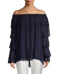 Le Marais Silk Off-the-shoulder Ruffle Sleeve Top - Blue