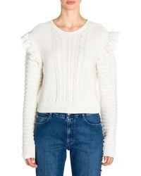 Stella McCartney Crochet Knit Ruffled Sweater - White
