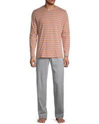 Hom Men's 2-piece Striped Pajama Set - Pink - Size Xl