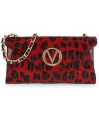 Valentino By Mario Valentino Tatin Animalier Leather Envelope Crossbody Bag - Red