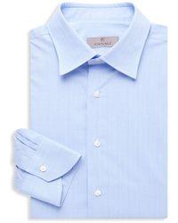 Canali Plaid Modern-fit Dress Shirt - Blue