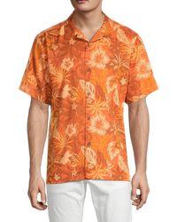 Tommy Bahama Men's Fuego Floral Silk Camp Shirt - Del Fuego - Size M - Orange