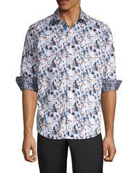 Robert Graham Abrell Layered Print Sport Shirt - Blue
