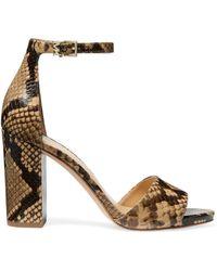 MICHAEL Michael Kors Women's Leela Snakeskin-embossed Leather Sandals - Camel - Size 6 - Multicolour