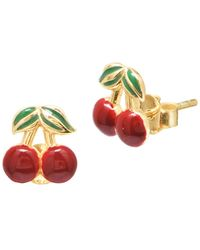 Gabi Rielle Private Garden 22k Goldplated Sterling Silver Cherry Stud Earrings - Metallic