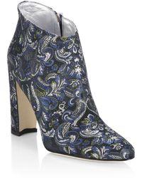 Manolo Blahnik - Brusta 105 Embroidered Block Heel Booties - Lyst