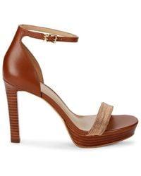 MICHAEL Michael Kors Women's Margot Beaded Leather Platform Sandals - Luggage - Size 5.5 - Brown