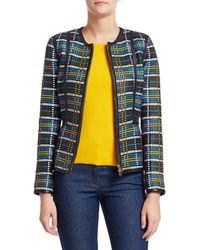 ESCADA Women's Liha Baskeweave Leather Jacket - Navy - Size 38 (8) - Blue