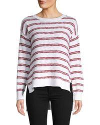 Pure Navy Striped Knit High-low Cotton Slub Pullover - White